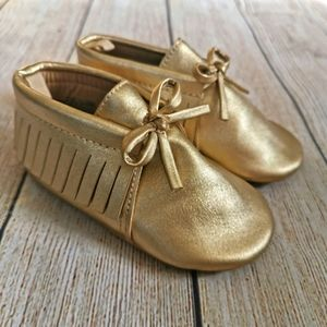 Gold Baby Moccasin Style Shoes
